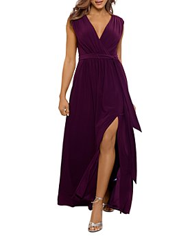 AQUA - Belted High Slit Gown
