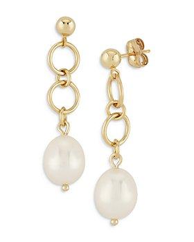 Bloomingdale's - Cultured Freshwater Pearl Circle Drop Earrings in 14K Yellow Gold - 100% Exclusive