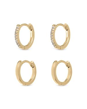 Sorrento Polished & Crystal Huggie Hoop Earrings