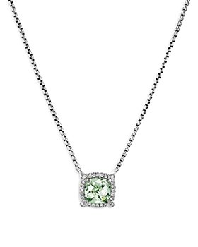 "David Yurman - Sterling Silver Chatelaine Prasiolite & Diamond Pendant Neckalce, 18"" - 100% Exclusive"
