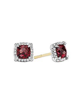David Yurman - Sterling Silver Chatelaine Garnet Stud Earrings with Diamonds - 100% Exclusive