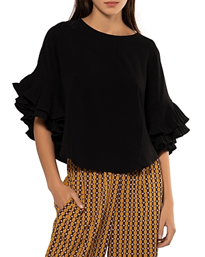 Pleated Sleeve Crop Top (42% off) Comparable value $86