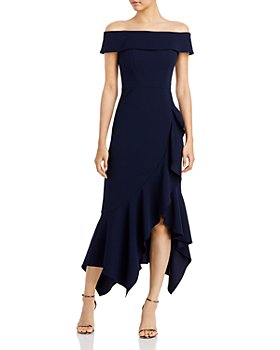 AQUA - Ruffled Asymmetrical Hem Dress