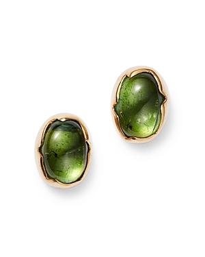 18K Yellow Gold Peridot Egg Stud Earrings