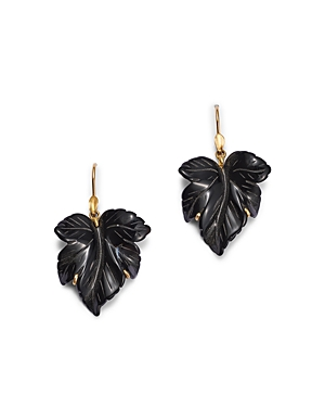 18K Yellow Gold Onyx Leaf Earrings
