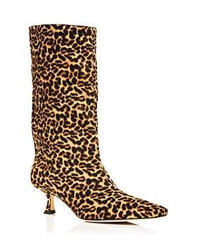 Jimmy Choo - Women's Chadee 50 Pointed Toe Animal Print Calf Hair Heeled Boots