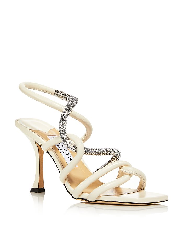 Jimmy Choo - Women's Lonnie 90 Square Toe Crystal Embellished Strappy High Heel Sandals