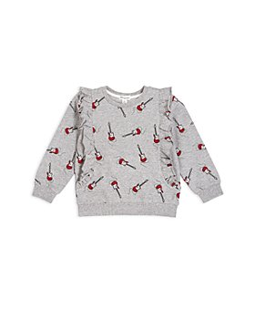 Miles The Label - Girls' Guitar Print Ruffle Sweatshirt - Baby