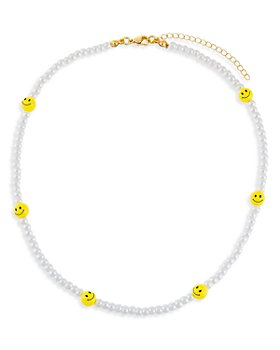 """Adinas Jewels - Smiley Face & Faux Pearl Beaded Choker Necklace in Gold Tone, 14""""-17"""""""