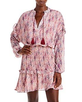 AQUA - Abstract Print Smocked Mini Dress - 100% Exclusive