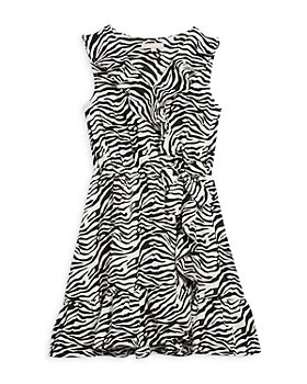 BCBG GIRLS - Printed Faux Wrap Ruffled Dress - Little Kid, Big Kid