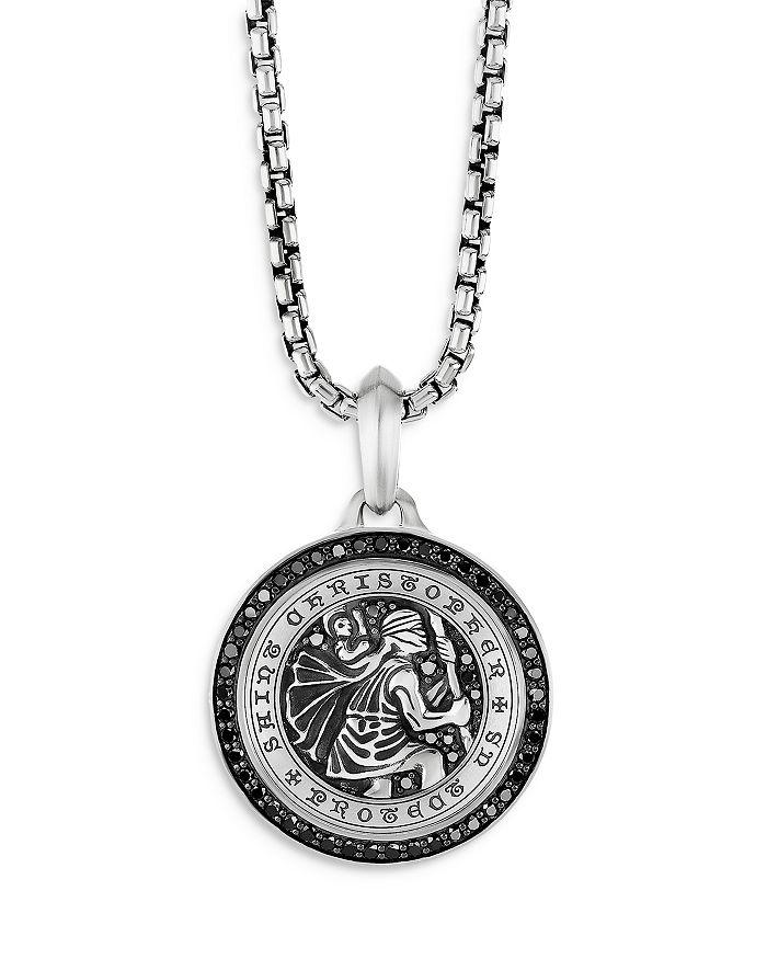 David Yurman - Sterling Silver Diamond St. Christopher Medallion Amulets