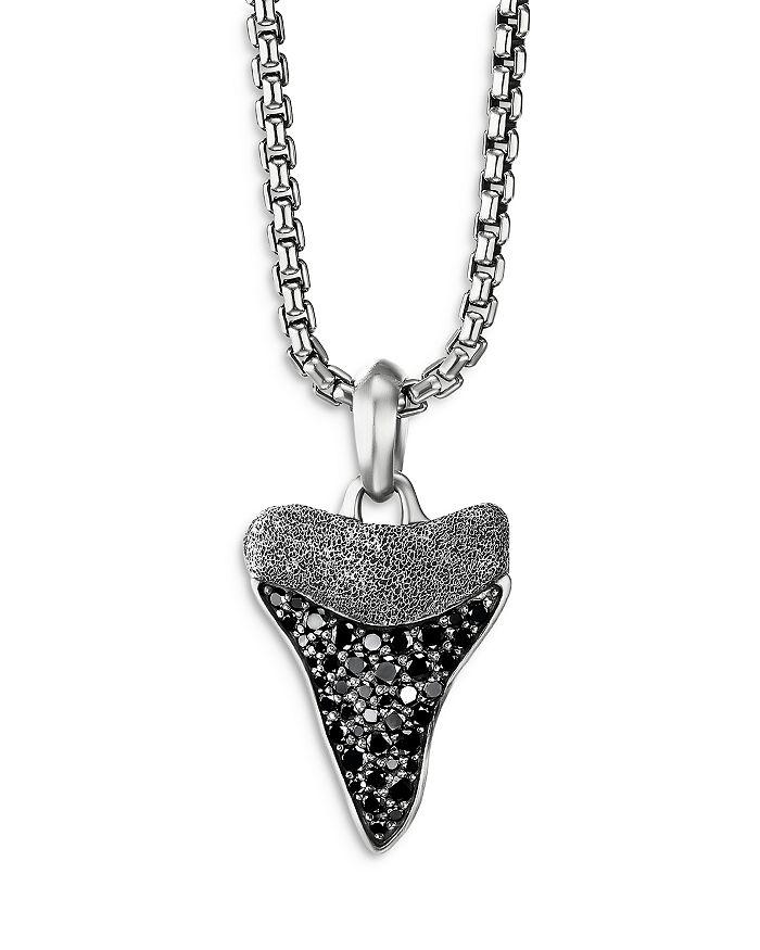 David Yurman - Men's Sterling Silver Shark's Tooth Amulet with Pavé Black Diamonds