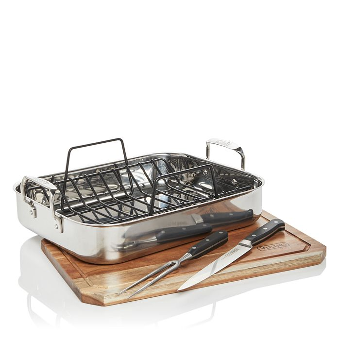Viking - 3-Ply Stainless Steel Roaster with Rack, 2-Piece Carving Set & Carving Board