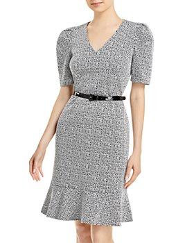 KARL LAGERFELD PARIS - Belted Flounce Hem Sheath Dress