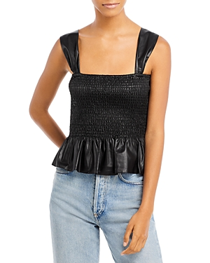 Lourdes Smocked Faux Leather Top