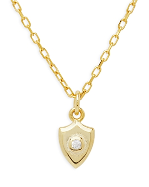 G Baby Cubic Zirconia Shield Pendant Necklace in 14K Gold Plated Sterling Silver