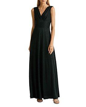 Ralph Lauren - Pleated Sleeveless V Neck Gown