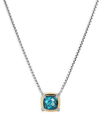 "David Yurman - Sterling Silver Petite Chatelaine® Hampton Blue Topaz & Diamond Pendant Necklace with 18K Yellow Gold, 18"""