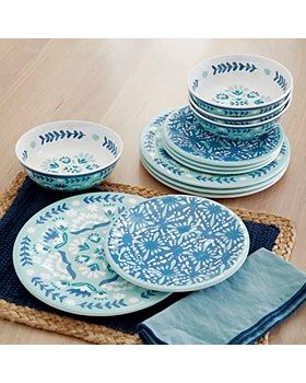 BAUM BROTHERS - Folk Medallion 12 Piece Melamine Dinnerware Set, Service for 4