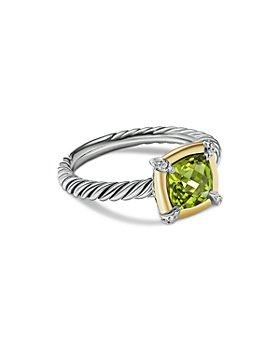 David Yurman - 18K Yellow Gold & Sterling Silver Petite Chatelaine® Peridot & Diamond Bezel Ring