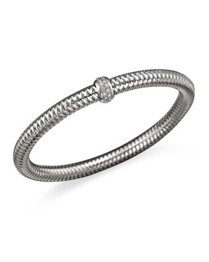Roberto Coin 18K White Gold Primavera Stretch Bracelet with Diamonds