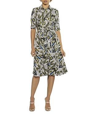 Plant with Vine Print Waist Bow A Line Dress (42% off)