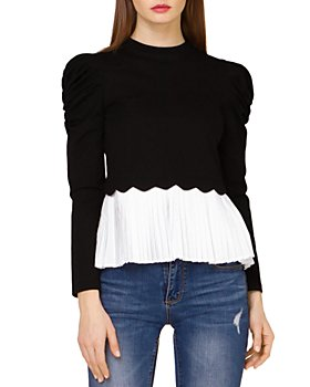 Gracia - Pleated Hem Puff Sleeve Top (44% off) - Comparable value $81