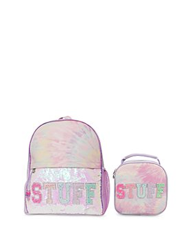 OMG Accessories - Girls' 2 Pc. Set STUFF Sequin Tie Dye Large Backpack & Lunch Bag