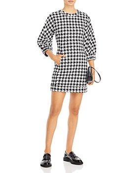 AQUA - Houndstooth Balloon Sleeve Mini Dress - 100% Exclusive