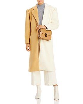 AQUA - Belted Two Tone Coat