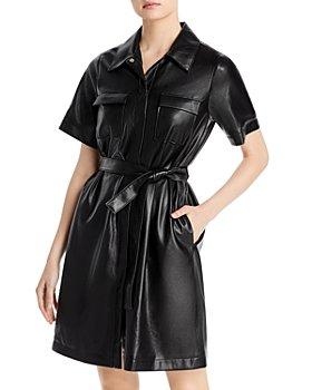 BOSS - Dalidi Faux Leather Shirt Dress