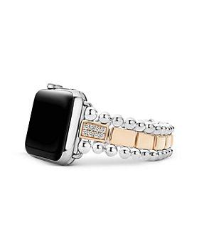 LAGOS - Smart Caviar 18K Rose Gold & Sterling Silver Single Diamond Apple™ Watch Bracelet, 38-44mm