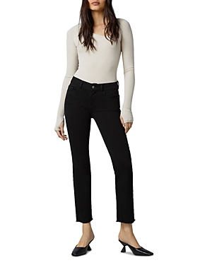 1961 Mara Instasculpt Straight Ankle Jeans in Black Peached Raw