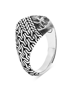 JOHN HARDY - Men's Sterling Silver Classic Chain Reticulated Silver Signet Ring