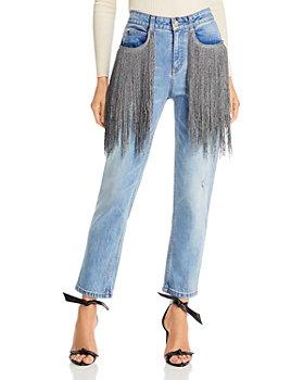Hellessy - Lance Fringe Trim Straight Leg Jeans in Medium Wash