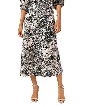 1.STATE - Snake Print Midi Skirt