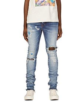 Purple Brand - P001 Skinny Fit Destroyed Jeans in Four Pocket Indigo