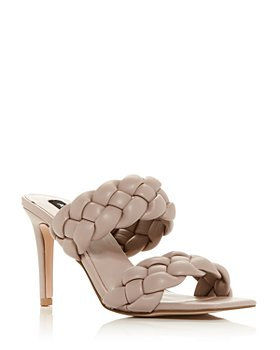 AQUA - Women's Twist Braided High Heel Slide Sandals - 100% Exclusive