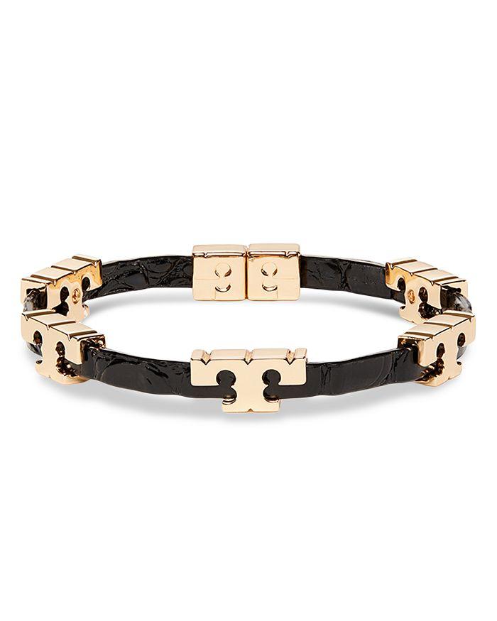 Tory Burch - Serif-T Logo & Leather Stackable Flex Bracelet