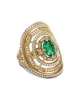 David Yurman - Stax Statement Ring in 18K Yellow Gold with Full Pavé Diamonds and Emerald
