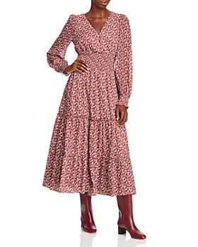 Lucy Paris - Floral Print Smocked Midi Dress