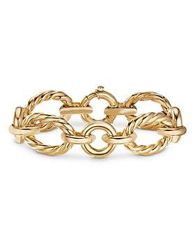David Yurman - 18K Yellow Gold Cable & Smooth Chain Link Bracelet
