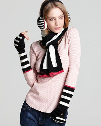 """Juicy Couture Black Label - """"Williams"""" Rugby Stripe Earmuffs"""