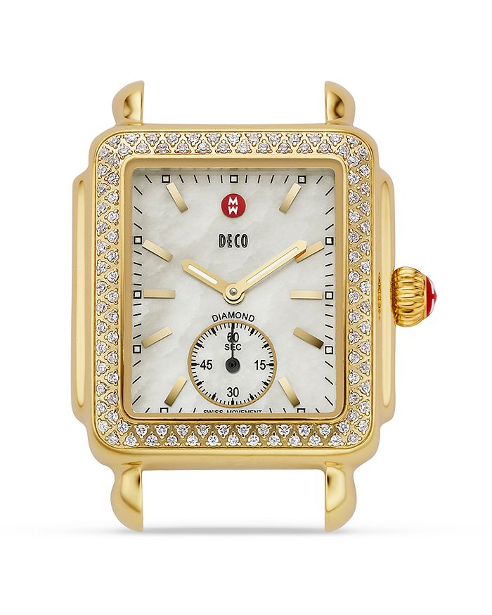 MICHELE - Deco Mid 16 Diamond Gold Watch Head, 29 x 31mm