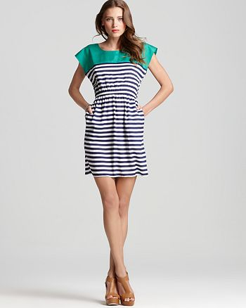 AQUA - Cinch Waist Stripe Dress - 100% Exclusive