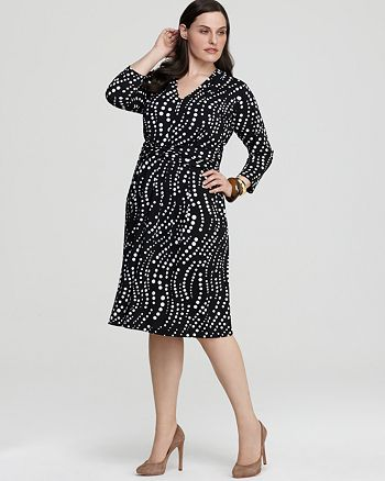 Jones New York Collection Plus Size Wave Dot Faux Wrap Dress ...