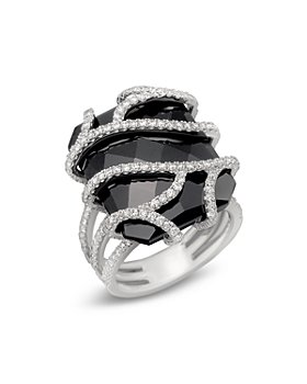 Bloomingdale's - Diamond and Black Onyx Ring in 14K White Gold, 1.20 ct. t.w.- 100% Exclusive