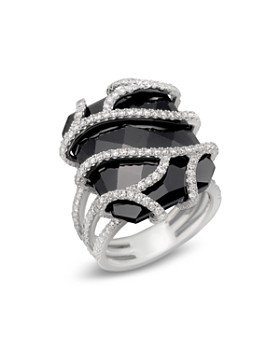 Bloomingdale's - Diamond and Black Onyx Ring in 14K White Gold, 1.20 ct. t.w. - 100% Exclusive