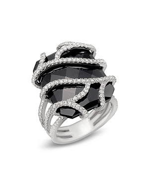 Diamond and Black Onyx Ring in 14K White Gold, 1.20 ct. t.w.